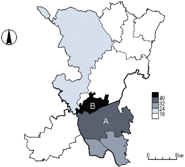 Figure 3: The geographic distribution of average tuberculosis notification rates by city surrounding A city, Japan, 2012–2014. A: City A, B: City B. Rates are expressed per 100,000 population. Thick lines indicate the boundaries between prefectures, whereas thin lines the boundaries of cities